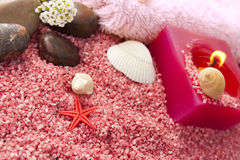 Pink spa setting on natural wood Royalty Free Stock Photography