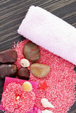 Pink spa setting on natural wood Stock Photos