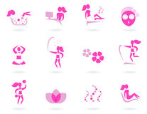 Pink spa, wellness & sport female icons. Vector collection of pink spa icons - pink and white Stock Photos