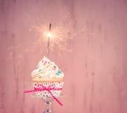 Pink Sparkler Cupcake stock images