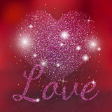 Pink sparkles heart on red background. Pink glitter heart. Love sparkles text. Royalty Free Stock Photo
