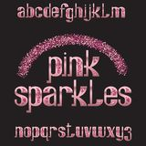 Pink sparkles typeface. Rose golden glittering font. Isolated ornate english alphabet.  stock illustration