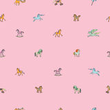 Pink sparse pattern with toy horses Stock Photo