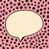 Pink speech bubble on font with dots hand drawn illustration with black elements stock illustration