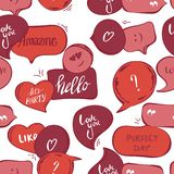 Pink speech bubbles seamless pattern. Vector background of red bubbles with word: hello , amazing, love you, perfect day vector illustration