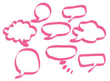 Pink speech bubbles. Set of pink speech bubbles in various shapes Stock Photos