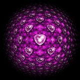 Pink sphere with fractal hearts. Digital artwork for creative graphic design Royalty Free Illustration