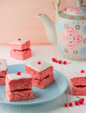 Pink sponge cake with jam Royalty Free Stock Image