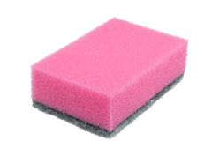 Pink sponge on a white background Stock Images