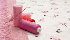 Pink spool of thread on a floral fabric Royalty Free Stock Image