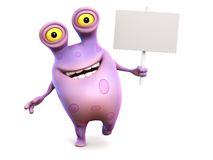 A pink spotted monster holding sign. Royalty Free Stock Photo