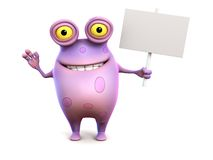 A pink spotted monster holding sign. Royalty Free Stock Photos