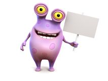 A pink spotted monster holding sign. Royalty Free Stock Photography