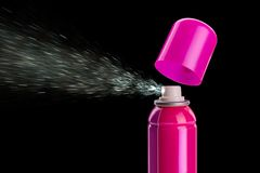 Pink spray aerosol Stock Photos