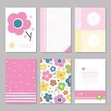 Pink Spring Flowers Stationary Pages Stock Photos