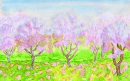 Pink spring garden, watercolours Stock Image