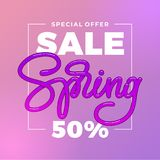 Pink Spring Sale Banner. 50 Off on violet packground. Special offer typography. Template for ad, sale banner, Poster, Flyer. Vecto. Pink Spring Sale Banner. 50 Stock Photography