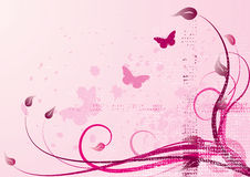 Pink-spring vector. This is a pink area with butterflys and flowers Stock Photos