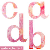 Pink spring watercolor font letters A B C D Royalty Free Stock Photos