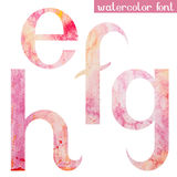 Pink spring watercolor font letters E F G H Royalty Free Stock Photography