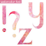 Pink spring watercolor font Y,Z and marks Stock Photos