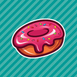Pink Sprinkled Doughnut. Pink delicious sprinkled doughnut on striped background Stock Photography