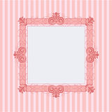 Pink square frame. Vector  illustration of a pink square frame in striped background Royalty Free Stock Image