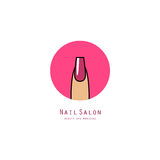 Pink square nail on a finger. Beauty salon icon Stock Photos