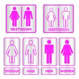 Pink Square Restroom Sign Set With Text Royalty Free Stock Image