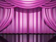 Pink stage drapes Stock Photos