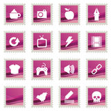 Pink stamp icons Royalty Free Stock Photo