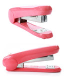 The pink stapler isolated over white Royalty Free Stock Photo