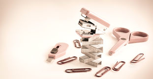 Pink stapler with office accessories Stock Image