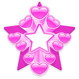 Pink star frame with hearts Royalty Free Stock Photos