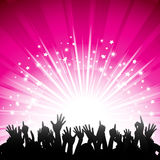 Pink starburst and crowd Stock Images