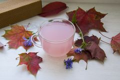Pink starch drink in a cup Royalty Free Stock Images