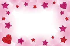 Pink Starry Frame. Starry frame, with clouds, hearts and space for your text Stock Image