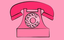 Pink stationary old retro vintage antique hipster phone with snorkel and disk on a pink background. Stock Photo