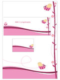 Pink stationery set. With letterhead, business card and compliment slip Royalty Free Stock Images