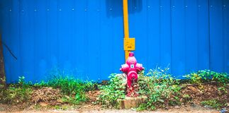 Pink Steel Water Pump Behind Blue Fence Royalty Free Stock Photo