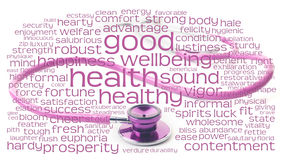 Pink stethoscope and health wordcloud Stock Images
