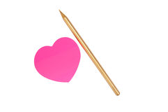 Pink Sticker And Gold Pencil Stock Photography