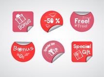 Pink Stickers. Pink discount (special gift) stickers Stock Photography