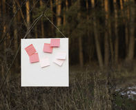 Pink stickers on white board Royalty Free Stock Photo