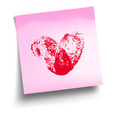 Pink sticky note with red thumbprint heart isolated on white. Vector illustration stock illustration