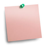 Pink sticky note stuck Royalty Free Stock Images