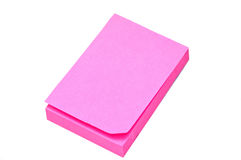 Pink sticky note on a white background. Pink sticky note on white background Royalty Free Stock Image
