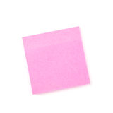 Pink sticky paper note. Isolated on white stock image