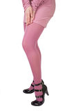 Pink stockings. The lady in pink stockings Stock Image