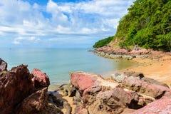 Pink stone Arkose, Arkosic Sandstone near the beach , Pink sto Stock Photos